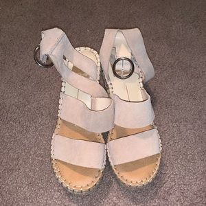 Pinkish/nude espadrille wedge heel